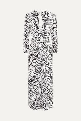 Rixo Rose Open-back Ruffled Animal-print Silk Maxi Dress