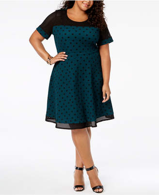 NY Collection Plus Size Polka Dot Mesh Dress