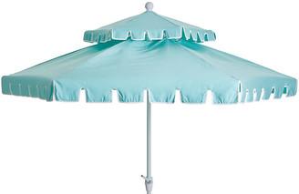 One Kings Lane Poppy Two-Tier Patio Umbrella - Glacier Blue