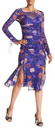 Diane von Furstenberg Long Sleeve Overlay Mesh Gown