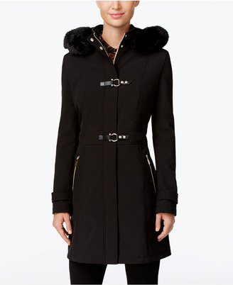 Ivanka Trump Faux-Fur-Trim Hooded Softshell Raincoat $200 thestylecure.com