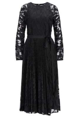 BOSS Hugo Long-sleeved midi dress in embroidered tulle plisse skirt 4 Patterned
