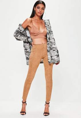 Missguided Tan Faux Suede Skinny Trousers