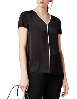 HUGO BOSS Relaxed-Fit V-Neck Top In Stretch Crepe De Chine