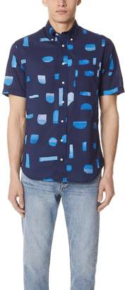 Gitman Brothers Abstract Blues Shirt with Short Sleeves