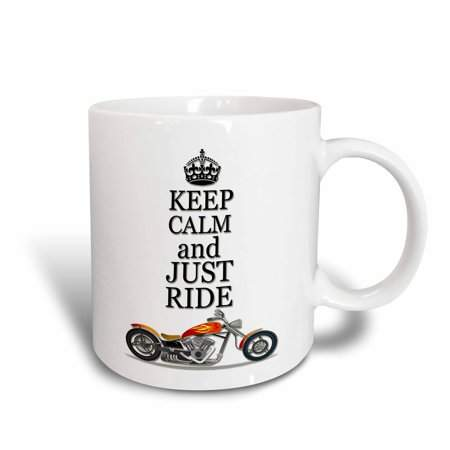 3dRose Keep calm and just ride. Cool motorcycles saying., Ceramic Mug, 11-ounce