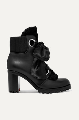 Christian Louboutin Jenny From The Alps Shearling And Leather Ankle Boots - Black