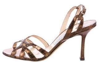 Jimmy Choo Snakeskin Multistrap Sandals