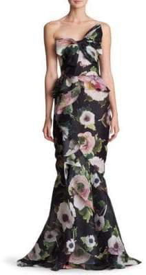 Marchesa Strapless Bow Floral Silk Gown