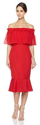 Social Graces Women's Off The Shoulder Ruffle Fluted Midi Skirt Bodycon Party Dress 6