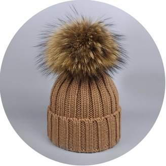 b1ade2fcb7861b Lady night Winter Hat Pom Pom Beanie Warm Knitted Bobble Fur Pompom Hat and  Scarf Set