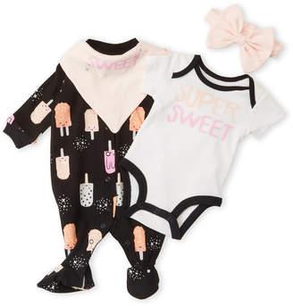 Petit Lem Newborn Girls) 4-Piece Super Sweet Footie Set