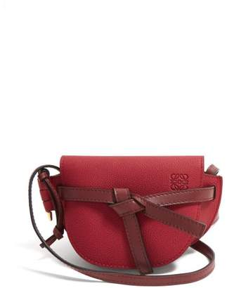 Loewe Gate Mini Grained Leather Cross Body Bag - Womens - Red