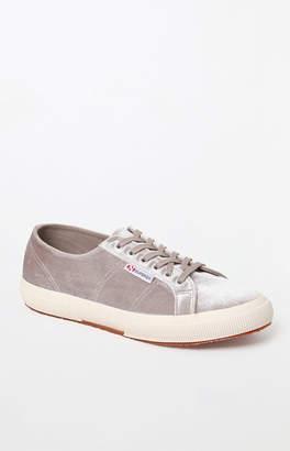 Superga Women's Light Gray Velvet Classic Sneakers