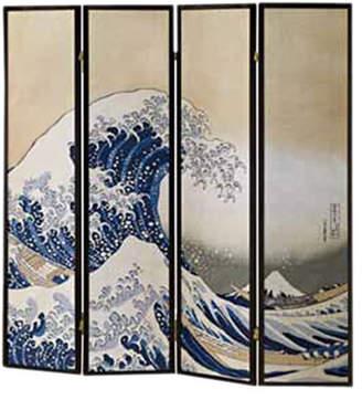 """Wildon Home 70"""" x 68"""" Wave Fukusai Shoji 4 Panel Room Divider"""
