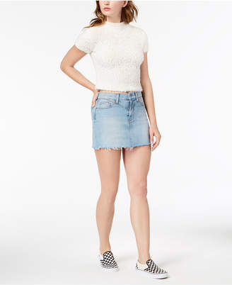 Hudson Jeans Raw-Hem Denim Mini Skirt