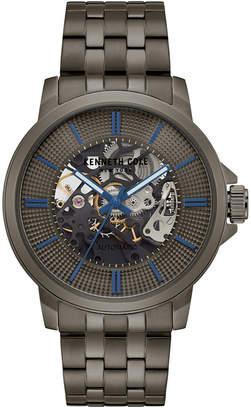 Kenneth Cole New York Men's Automatic Gunmetal-Tone Stainless Steel Bracelet Watch 44mm