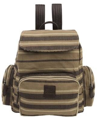 Ashton & Willow Cedar Brown Country Handbags Elisha Rucksack Cotton Adjustable Strap Pewter Hardware Canvas Striped Backpack