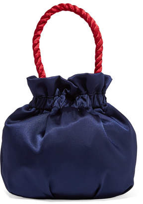 STAUD - Grace Two-tone Satin Tote - Navy