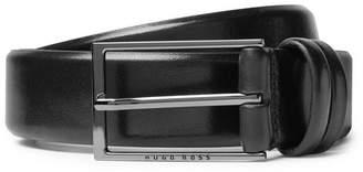 HUGO BOSS 3.5cm Black Carmello Leather Belt - Men - Black