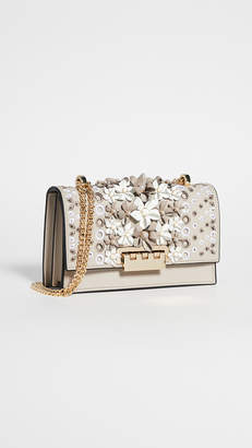 Zac Posen Earthette Floral Applique Chain Shoulder Bag