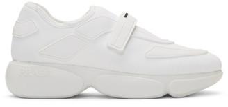 Prada White Tonal Sock Cloudbust Sneakers
