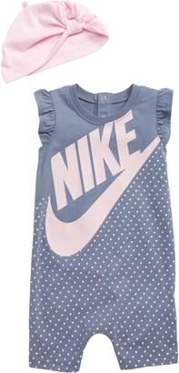 Nike Print Romper & Knotted Beanie Set