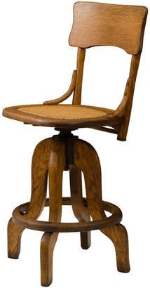 Rejuvenation Oak Operators Stool w/ Caned Seat
