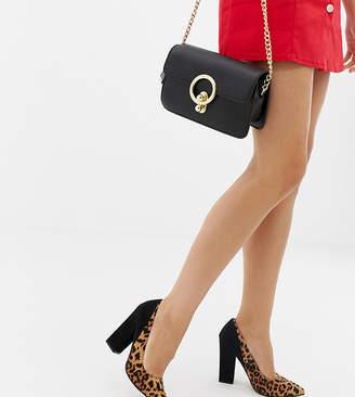 Asos DESIGN Wide Fit Washington block heeled pumps in leopard and black
