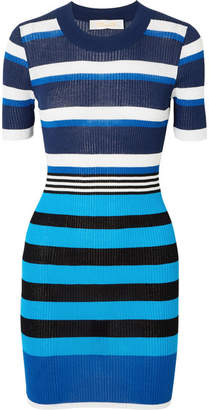 Diane von Furstenberg Striped Ribbed Cotton-blend Dress - Navy