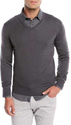 Giorgio Armani Men's V-Neck Wool Pullover Sweater