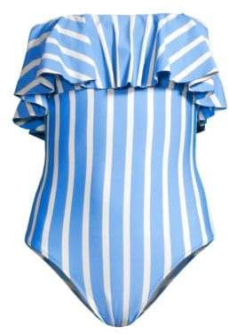 Milly Striped Ruffle One-Piece Swimsuit