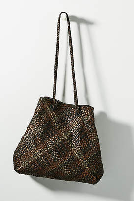 At Anthropologie En Shalla Woven Metallic Leather Tote Bag