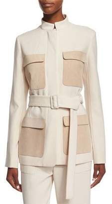 The Row Slim-Fit Jacket W/Contrasting Pockets, Ivory Cream
