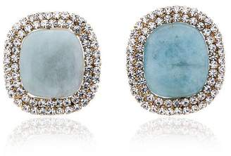 Rosantica blue crystal embellished large stone clip on earrings