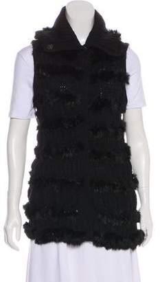 Diane von Furstenberg Fur-Trimmed Wool Vest