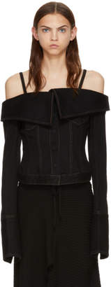 Marques Almeida Black Denim Off-the-Shoulder Jacket