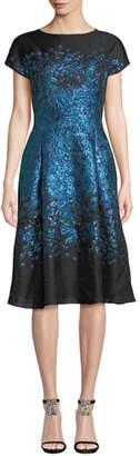 Rickie Freeman For Teri Jon Metallic Jacquard Dress w/ Full Skirt