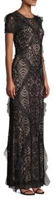 BCBGMAXAZRIA Ruffle Trim Lace Gown