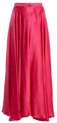 Gucci High Rise Crinkled Silk Blend Skirt - Womens - Pink