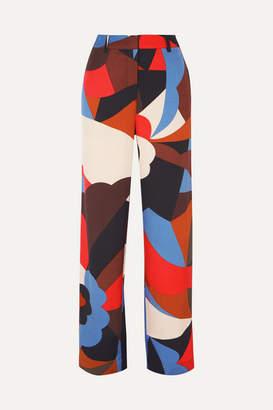 Stine Goya Daria Printed Satin-twill Straight-leg Pants - Red