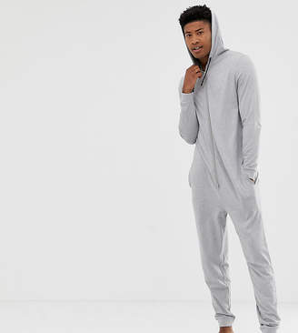 039487a5cc Asos Design DESIGN TALL hooded onesie in grey marl in organic cotton