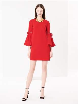 Oscar de la Renta Flutter-Sleeve Stretch-Wool Crepe Dress