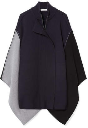 Chloé Color-block Wool Cape - Midnight blue