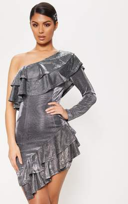 PrettyLittleThing Pewter Textured Glitter One Shoulder Frill Bodycon Dress
