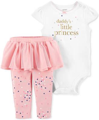Carter's Carter Baby Girls 2-Pc. Daddy Princess Cotton Bodysuit & Tutu Leggings Set