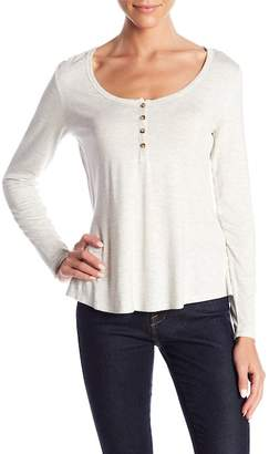 Socialite Scoop Neck Long Sleeve Henley Tee