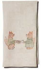 Coral & Tusk Fox Embroidered Tea Towel