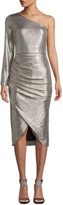 Aidan Mattox One-Sleeve Foiled Jersey Dress