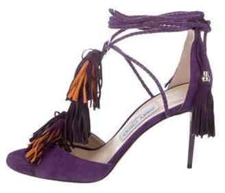Jimmy Choo Suede Wrap-Around Tassel Sandals Purple Suede Wrap-Around Tassel Sandals